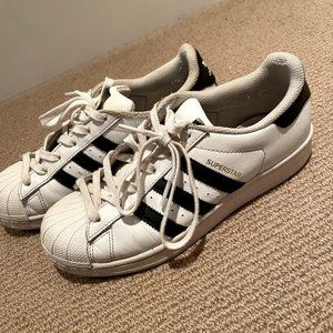 Adidas black and white superstar shoes